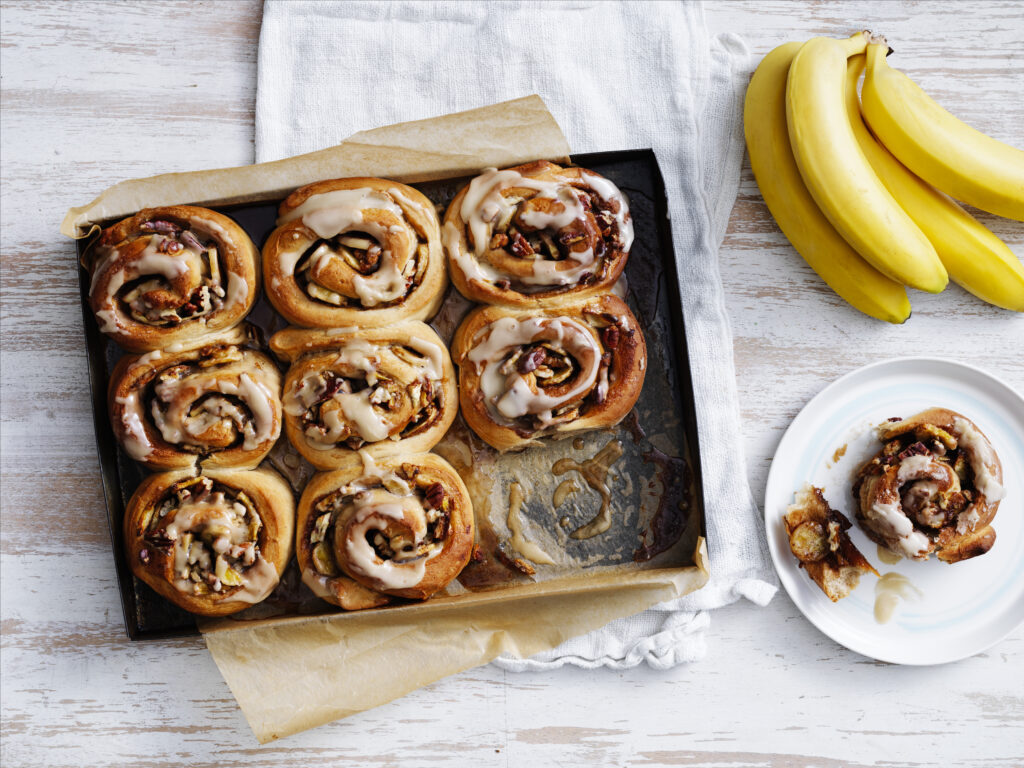 Vegan banana maple scrolls